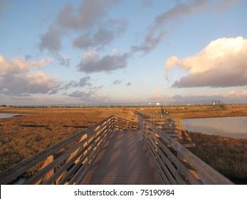 Footbridge in Bolsa Chica Ecological Reserve, Huntington Beach, CA