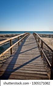 Footbridge down to the beach, Costa Blanca, spain