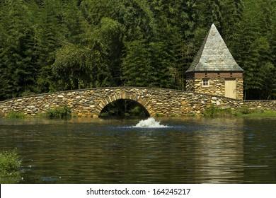 Footbridge at Graylyn Estate in Winston-Salem NC