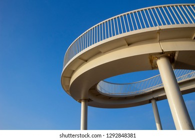 Footbridge at Leigh-on-Sea, Essex, England, against a blue sky