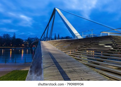 Footbridge in Liege at night. Liege, Wallonia, Belgium.