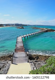 A footbridge on the sea of okinawa