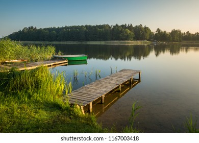 Footbridge on the Wydminskie lake in Wydminy, Masuria, Poland