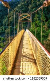 The footbridge over the Cataract Gorge on the river Tamar at Launceston, Tasmania.