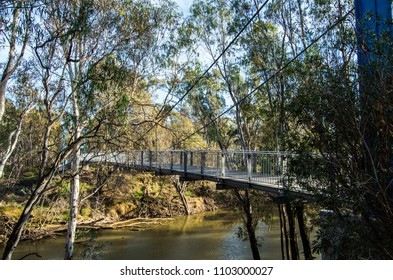 Footbridge over the Goulburn River at Shepparton in the Goulburn Valley, Australia.