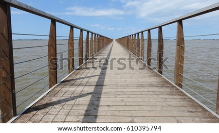 2064a53f2b Footbridge Over Lake Lesina Stock Photo (Edit Now) 610395794 ...