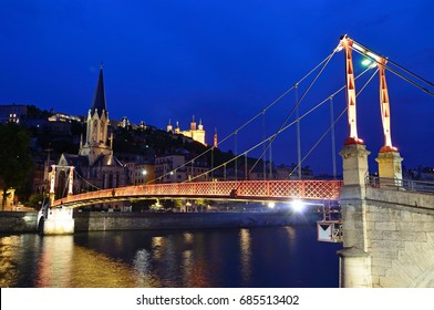 Footbridge over Soane river in Lyon,France