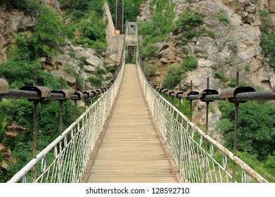 Footbridge. Selective focus on foreground. Rock covert by plants in background