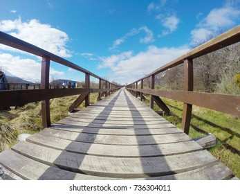 Footbridge in Tierra del Fuego National Park, Ushuaia, Argentina, during spring.