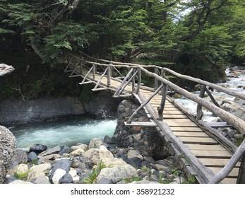 Footbridge in Torres del Paine National Park, Chile