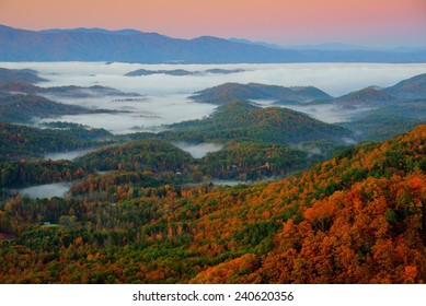 Foothills Parkway in Great Smoky Mountains National Park at Sunrise