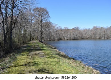 Footpath across the dam in Wall Doxey State Park, Mississippi