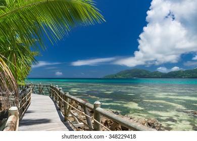 footpath along a beautiful beach on the Seychelles