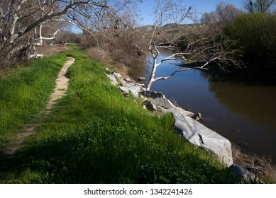 A footpath along the Kern River (California) invites a pleasant spring hike or run along the bank.