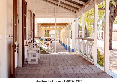 Footpath along the verandahs of vintage homes in a recreated old Australian country town