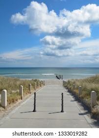 Footpath to Beach of Juliusruh at baltic Sea on Ruegen,Mecklenburg western Pomerania,Germany