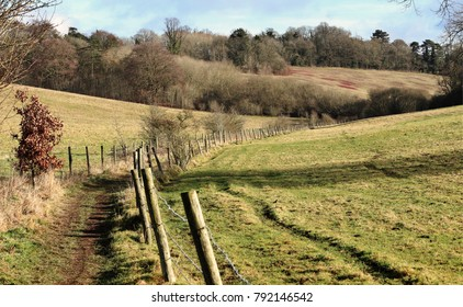 A footpath between fenced fields in the Chiltern Hills in England