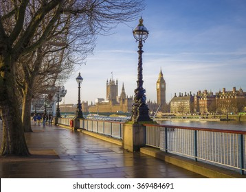 Footpath with Big Ben and Houses of Parliament at early in the morning - colourful version - Central London, UK