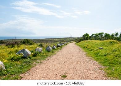 footpath with bis rocks