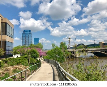 Footpath by the west bank of the Grand River in downtown Grand Rapids, Michigan.