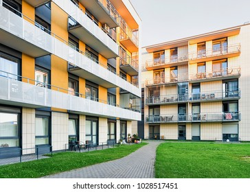 Footpath at Complex of new residential buildings with other outdoor facilities. Toned