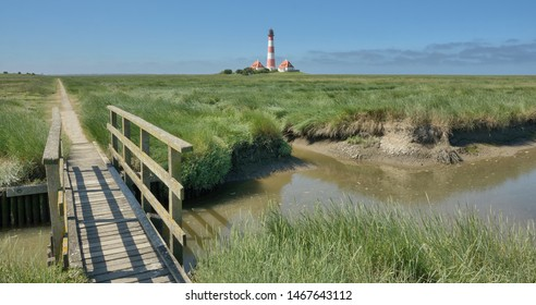 Footpath to famous Westerhever Lighthouse in North Frisia,Schleswig-Holstein,Germany