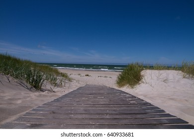 Footpath leading to the Baltic Sea with waves in a bright summer windy day