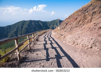 Footpath leading to the crater of Vesuvius, Campania, Italy