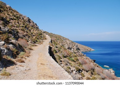 The footpath from Livadia to Lethra beach on the Greek island of Tilos.