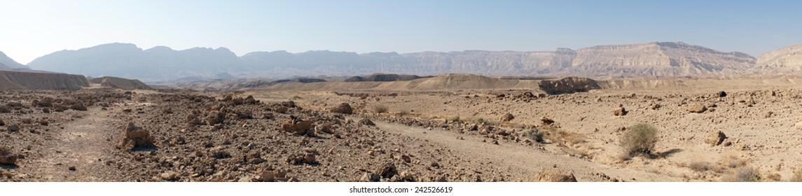 Footpath in Makhtesh Katan in Negev desert, Israel