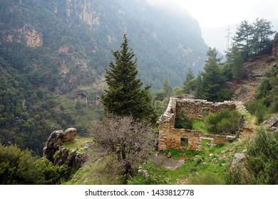 Footpath near ruins in Kadisha valley, Lebanon