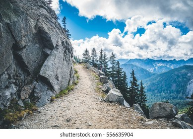 Footpath on the high rocky mountain