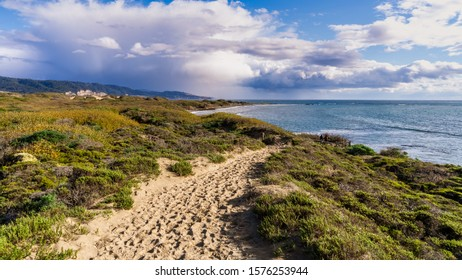 Footpath on the sand dunes of Ano Nuevo State Park; storm clouds visible in the background; Pacific Ocean Coastline, California