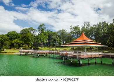 A footpath over a lake at the MacRitchie Reservoir, in Singapore.