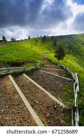 Footpath for peak of the Puy Pariou in Auvergne, France