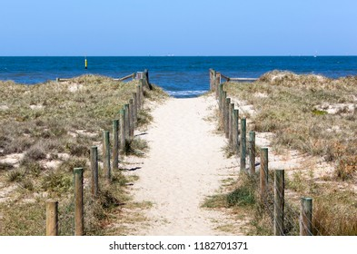 The footpath to Port Melbourne Beach, public outdoor place in Melbourne city (Victoria).