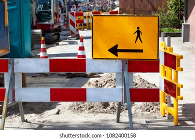 Footpath reconstruction with barriers and signs in the Netherlands
