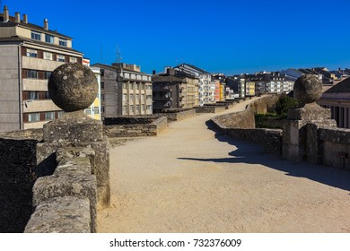 Footpath of the Roman wall of Lugo, Galicia, Spain