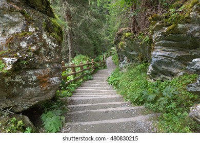 "Footpath / Stairs in ""Umbal wasserfalls"", national park ""Hohe Tauern"", Tirol, Austria"
