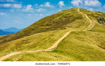 footpath through the grassy hills of mountains. beautiful summer scenery in fine weather with some clouds on a blue sky