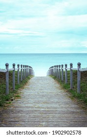 Footpath toward the beach on Rugen island in the Baltic Sea, Germany. Wooden pathway leading to the beach on the german island, Rugen.
