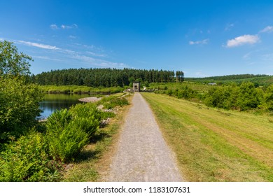 Footpath towards the dam of the Alwen Reservoir, Conwy, Wales, UK