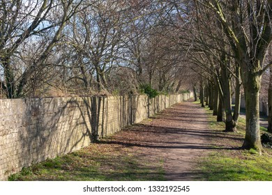 Footpath and trees along the ramparts in Bergues, northern France
