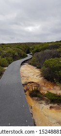 footpath walking track in the bush national park to the ocean cliff face Australias north