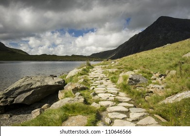 Footpath in the Welsh Mountains in the UK.