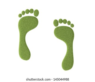 Footprint with grass isolated on white background