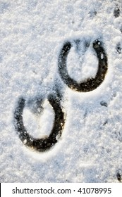 Footprint of a Horse in Snow