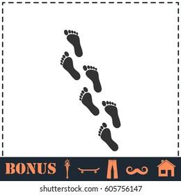 Footprint icon flat. Simple illustration symbol and bonus pictogram