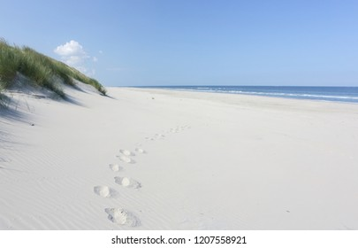 Footprint on North sea beach.