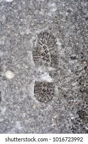 footprint on the snow